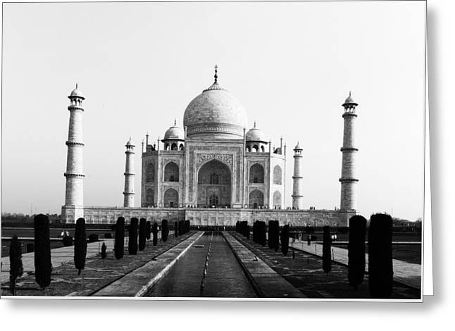 Taj Mahal Bw Greeting Card