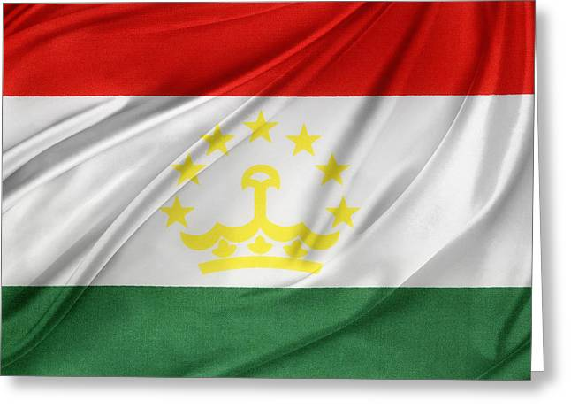 Tajikistan Flag Greeting Card by Les Cunliffe