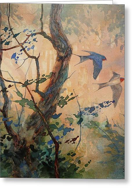 Take Flight - Barn Swallows Greeting Card by Floy Zittin