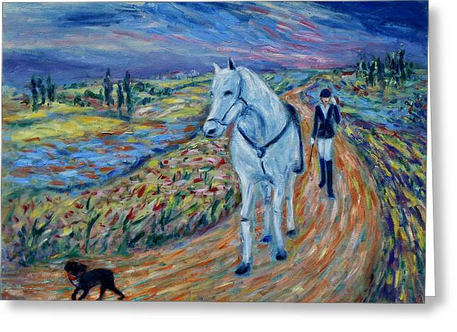 Greeting Card featuring the painting Take Me Home My Friend by Xueling Zou