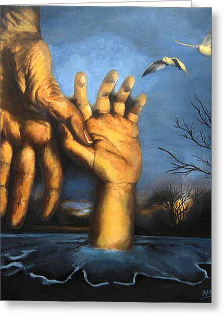 Take My Hand Greeting Card by Andrea Banjac