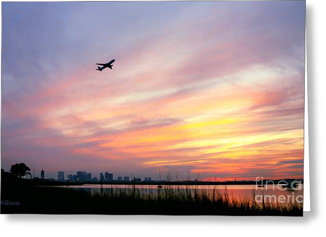 Take Off At Sunset In 1984 Greeting Card by Michelle Wiarda
