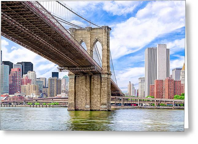 Take The Brooklyn Bridge Into Manhattan Greeting Card by Mark E Tisdale