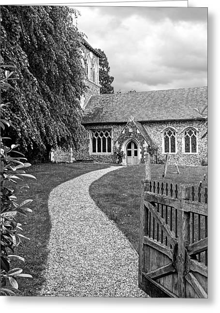Take The Right Path - Church Black And White Greeting Card by Gill Billington