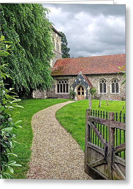 Take The Right Path - Church Greeting Card by Gill Billington