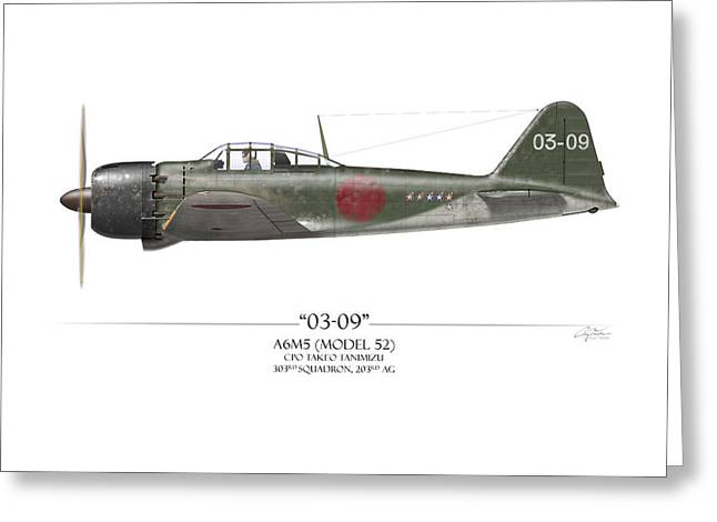 Takeo Tanimizu A6m Zero - White Background Greeting Card by Craig Tinder