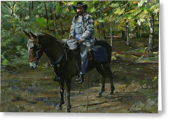 Tennessee Man On Mule Greeting Card