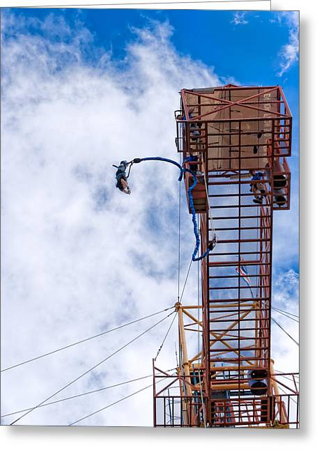 Taking A Leap - Bungee Jump In Costa Rica Greeting Card
