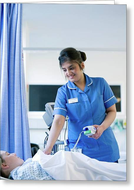 Taking A Patient's Temperature Greeting Card by Lth Nhs Trust