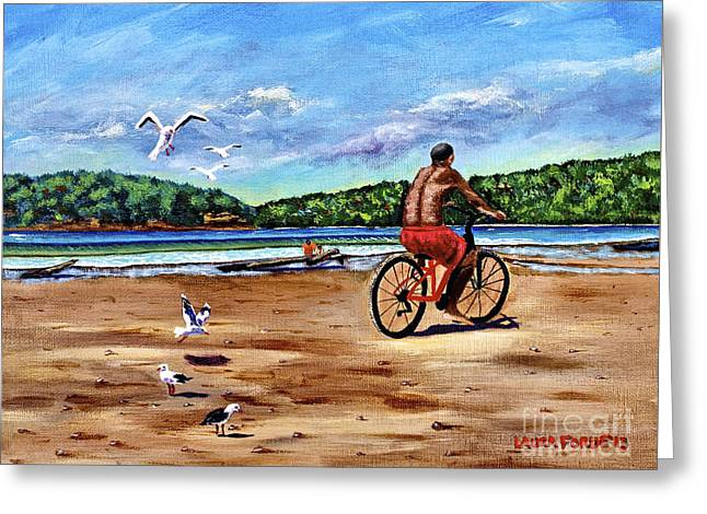 Taking A Ride  Greeting Card by Laura Forde