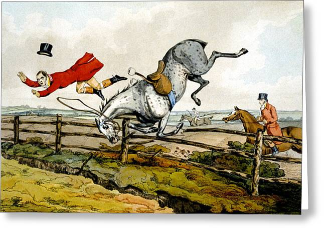 Taking A Tumble From Qualified Horses And Unqualified Riders Greeting Card by Henry Thomas Alken
