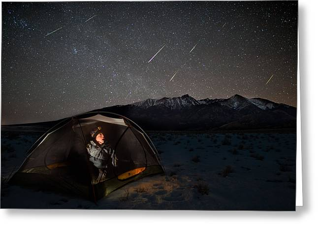 Taking Cover From The Quadrantids Meteor Shower Greeting Card by Mike Berenson