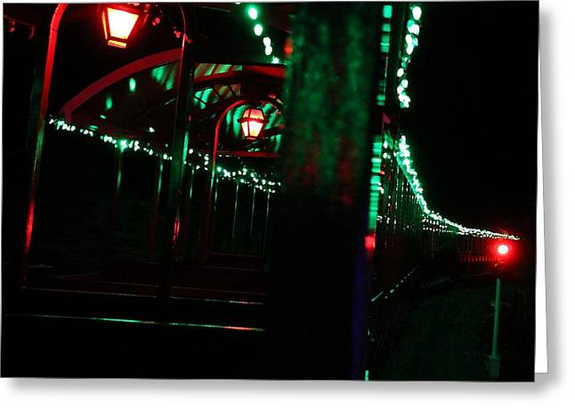 Taking In The Lights Riding The Rails Greeting Card by Scott Allison