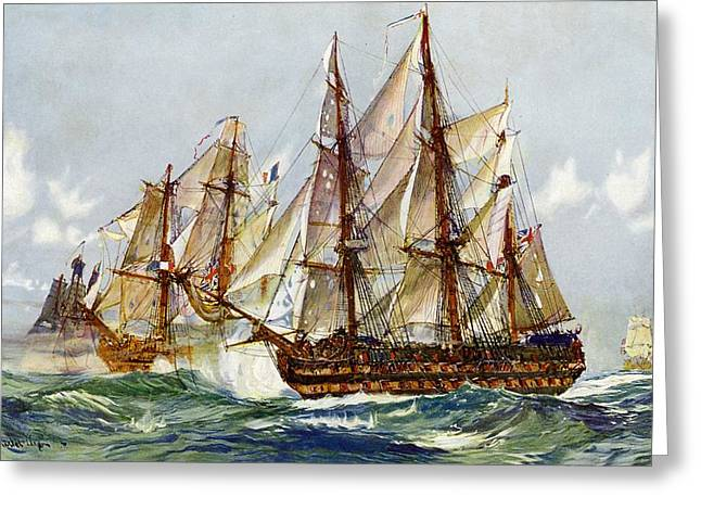 Taking On The Duguay Trouin After Trafalgar Greeting Card by Charles Edward Dixon