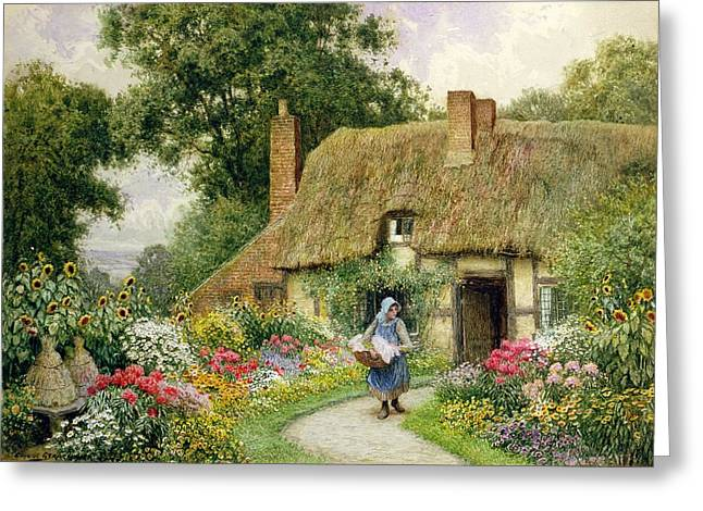 Taking Out The Washing Greeting Card by Arthur Claude Strachan