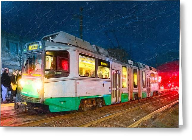 Taking The T At Night In Boston Greeting Card