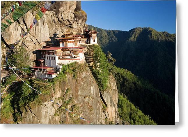 Taktsang Dzong (monastery Greeting Card by Peter Adams