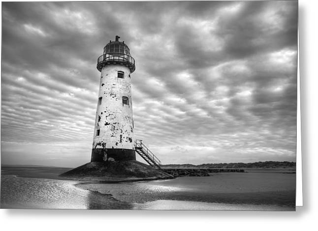 Talacre Lighthouse Monochrome Greeting Card by Christine Smart