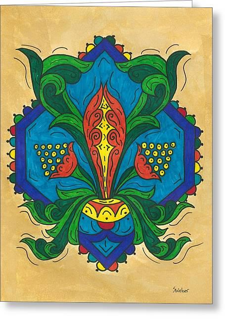 Talavera Flora Greeting Card by Susie WEBER