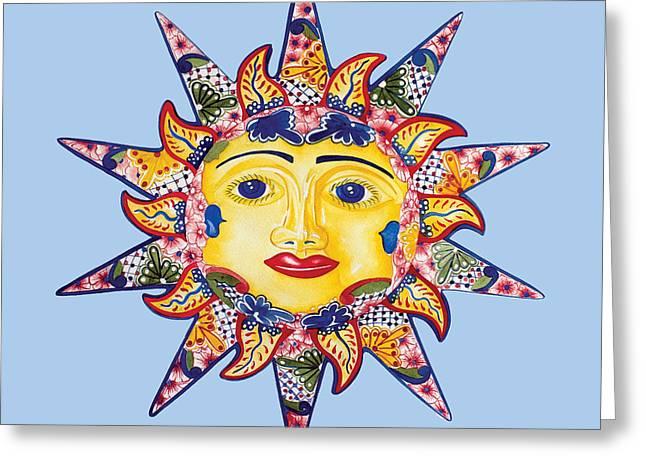 Talavera Sun-blue Greeting Card