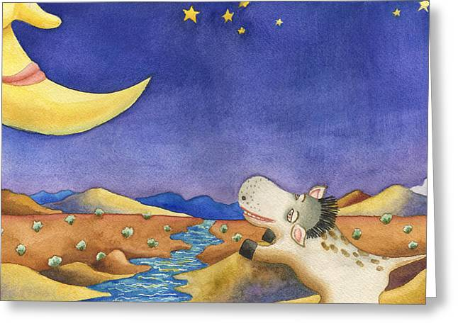 Talking To Mr. Moon Greeting Card by Anne Gifford