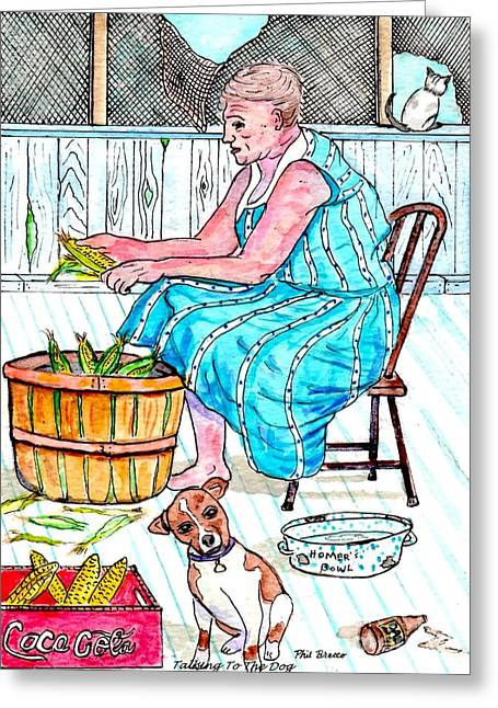 Talking To The Dog - Sitting On The Front Porch Greeting Card by Philip Bracco