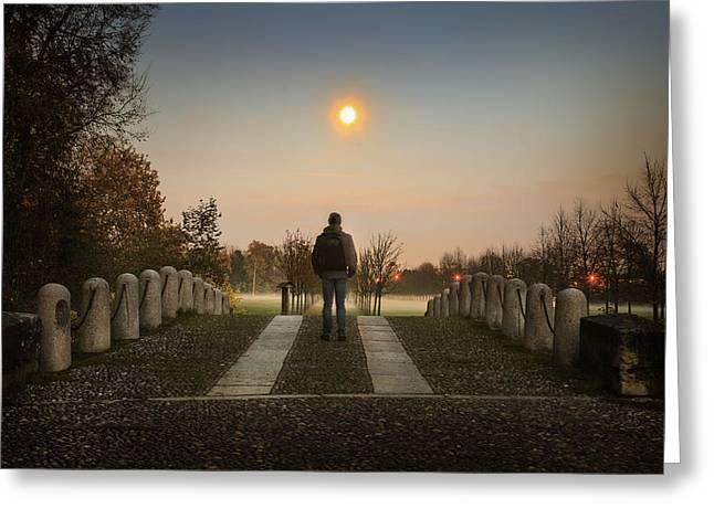 Talking To The Moon Greeting Card by Alfio Finocchiaro