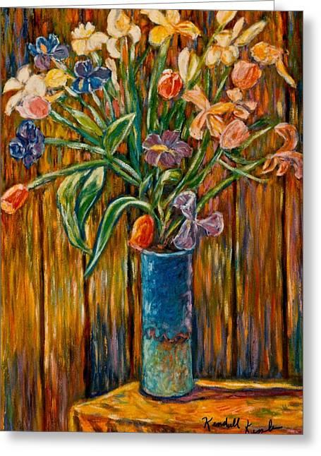 Tall Blue Vase Greeting Card by Kendall Kessler