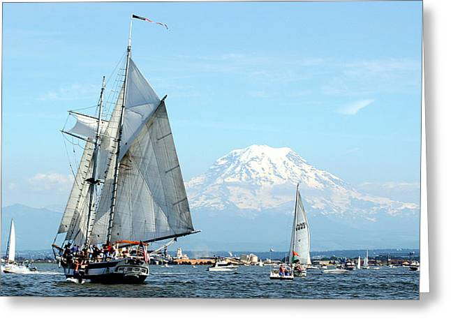 Tall Ship And Mount Rainier Greeting Card