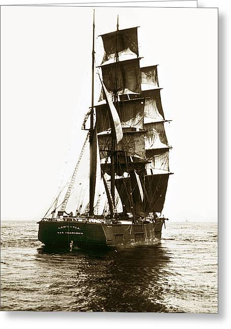Greeting Card featuring the photograph Tall Ship Germania Out Of San Francisco California  Circa 1900 by California Views Mr Pat Hathaway Archives