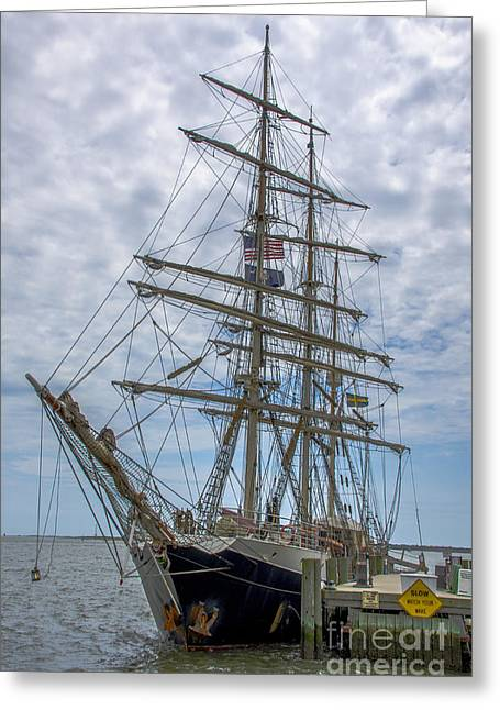 Greeting Card featuring the photograph Tall Ship Gunilla Vertical by Dale Powell