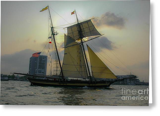 Tall Ship In Charleston Greeting Card by Dale Powell