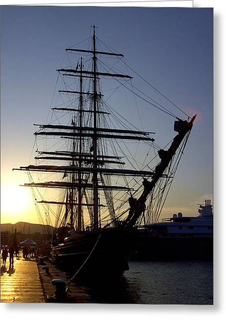 Tall Ship In Ibiza Town Greeting Card