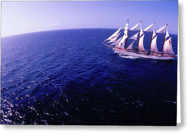 Tall Ship In The Sea, Puerto Rico, Usa Greeting Card by Panoramic Images