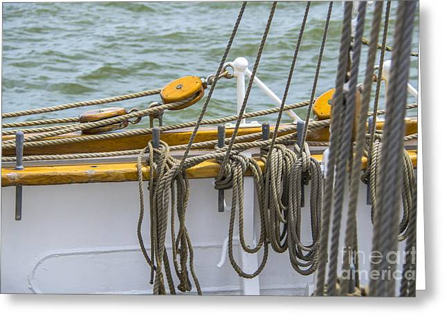 Greeting Card featuring the photograph Tall Ship Rigging by Dale Powell