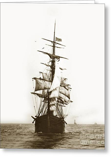 Greeting Card featuring the photograph Tall Ship Sailing Out Of San Francisco California Circa 1900 by California Views Mr Pat Hathaway Archives