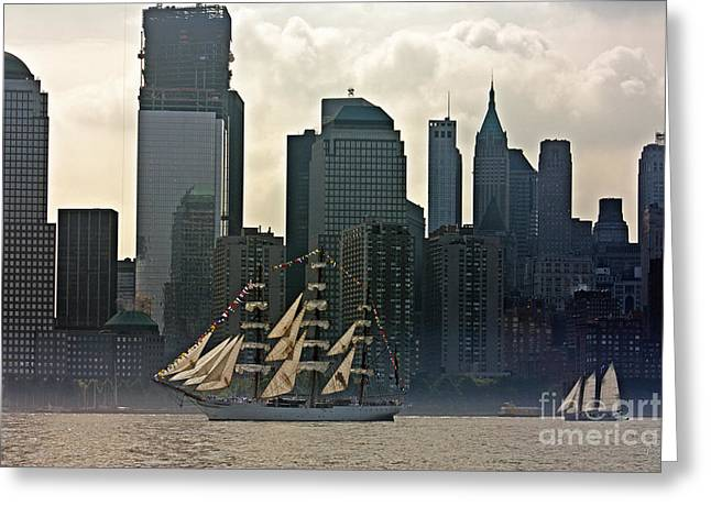 Tall Ship Sailing Past The New York Skyline Greeting Card