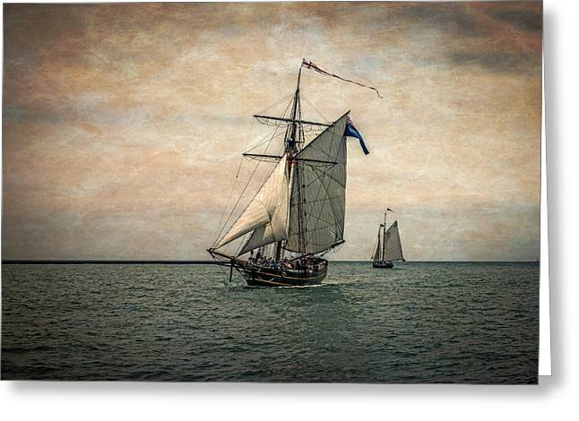 Tall Ships Festival, Digitally Altered Greeting Card by Rona Schwarz