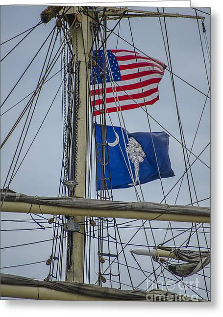 Greeting Card featuring the photograph Tall Ships Flags by Dale Powell