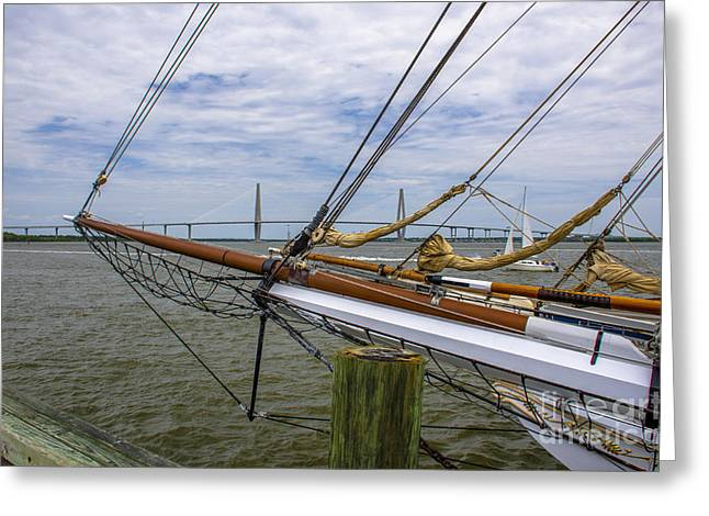 Greeting Card featuring the photograph Tall Ships In Charleston by Dale Powell
