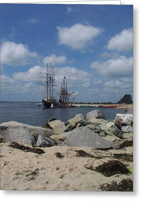 Tall Ships In The Distance Greeting Card by Rosanne Bartlett