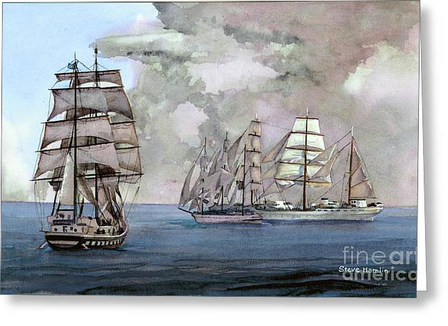 Tall Ships Off Newport Greeting Card by Steve Hamlin