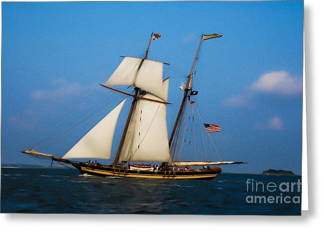 Greeting Card featuring the digital art Tall Ships Over Charleston by Dale Powell