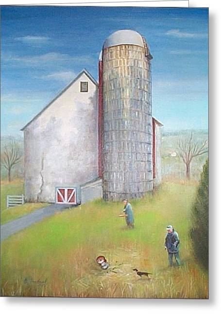 Greeting Card featuring the painting Tall Silo by Oz Freedgood