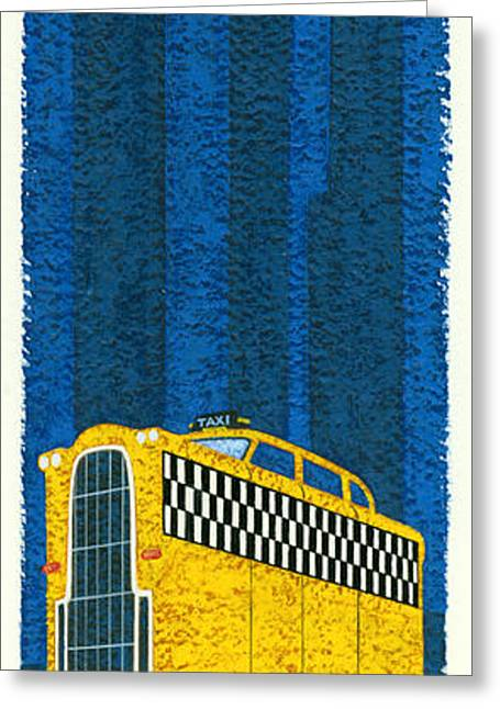 Tall Taxi Greeting Card by Brian James