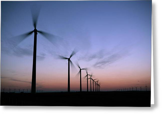 Tall Windmills Are Silhouetted Greeting Card