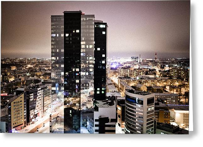 Tallinn At Night Greeting Card by Raimond Klavins