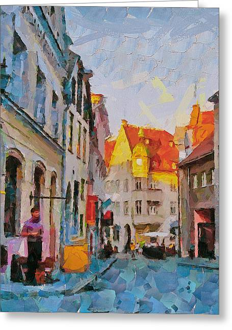 Tallinn City Scape Greeting Card by Yury Malkov