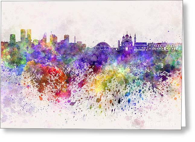 Tallinn Skyline In Watercolor Background Greeting Card by Pablo Romero