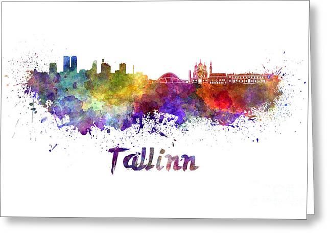 Tallinn Skyline In Watercolor Greeting Card by Pablo Romero